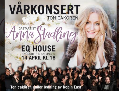 Söndag 14 april + Vårkonsert Tonicakören med Anna Stadling